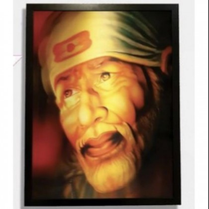 2D Hologram Graphic Sai Baba Frame with Free Gift