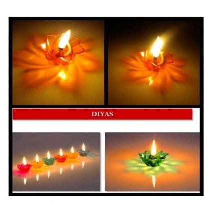 Deepawali Floating Transparent Multicolor Reflections Plastic Diya - Set of 12