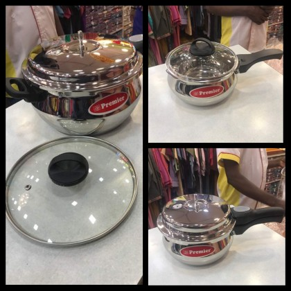 Premier Stainless Steel Handi Pressure Cooker for Induction & LPF stove with Glass Lip 3 Ltr / 5.5 Ltr