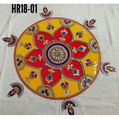 Colorful Jumbo Rangoli with 6 Candle/Deepavali/ Diwali/Decoration/Kundan/Wedding/Indian 18 Inch