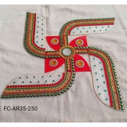 Acrylic Swastik Rangoli/Deepavali/ Diwali/Decoration/Kundan/Wedding/Indian 10 to 12 Inch
