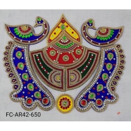 Designer Acrylic Peacock Rangoli/Deepavali/ Diwali/Decoration/Kundan/Wedding/Indian 15 Inch