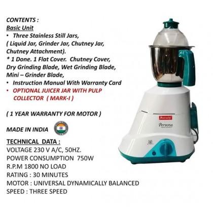 4 in 1 Suruchi Persona Mixer Grinder Heavy Duty 750Watts