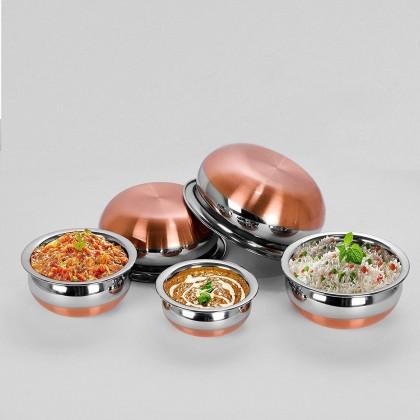 Stainless Steel Copper Bottom (Paruppu Chatti/ பருப்பு சட்டி) Cooking Serving Pot Set with Lip - 5 Pcs / 6 Pcs
