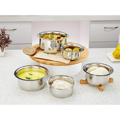 Solimo Stainless Steel Tope Set (5 pieces, 420 ml , 550 ml, 840 ml, 1150 ml and 1550 ml, Induction and Gas compatible)