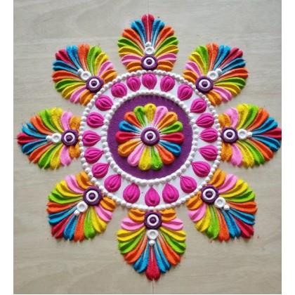 Multicolor Rangoli Sand Type Powder/Rangoli Color Kit/Floor Decoration for Festival's Diwali, Wedding Made in India (10 Multicolour x 100g or White x 1kg)