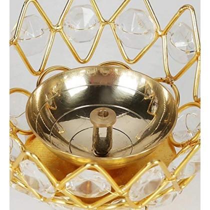 Lotus Shape Crystal Diya Jyothi Oil Deepam Brass for Puja Home Decor